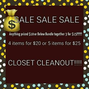 CLOSET CLEANOUT!!!!ANYTHING $10 AND BELOW!!!!